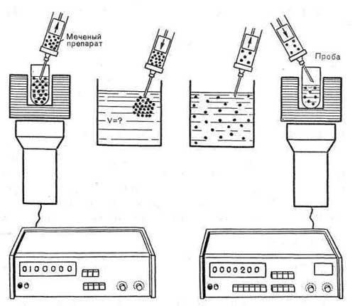 Схема радиодиагностического анализа, основанного на принципе оценки степени разведения РФП