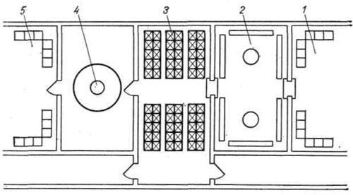 Схема размещения ингалятория и фотария в бытовом комбинате.