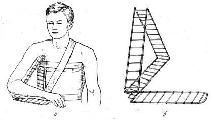 Треугольная отводящая-поддерживающая шина автора для временной иммобилизации и фиксации верхней конечности при поражении плечевого сустава